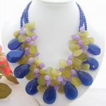 3Strands Blue  stone Necklace