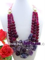 Fancy nugget amethyst stones necklace
