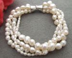 Multi shape white pearl bracelet