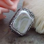 White Keshi Pearl With Marcasite Ring