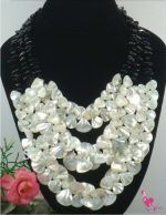 White shell with black beads necklace
