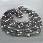 Fresh water gray cultured pearl necklace