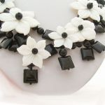 Black and white shell flower necklace