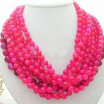 Round faceted red necklace