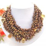 Brown Pearl  Crystal Necklace