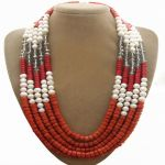 White and red round pearl with crystal necklace