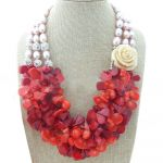 Pink Rice Pearl & Red Coral Necklace