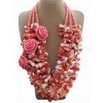 Coral & Resin Flower Necklace
