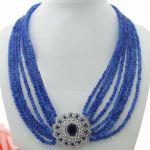 Blue Faceted Round Stone Necklace