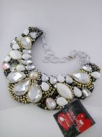 White Acrylic Rhinestone bead necklace