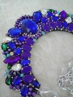 Blue Acrylic Rhinestone bead necklace