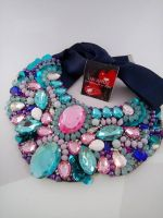 Bright rose & blue necklace