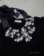 Black Acrylic Rhinestone Necklace