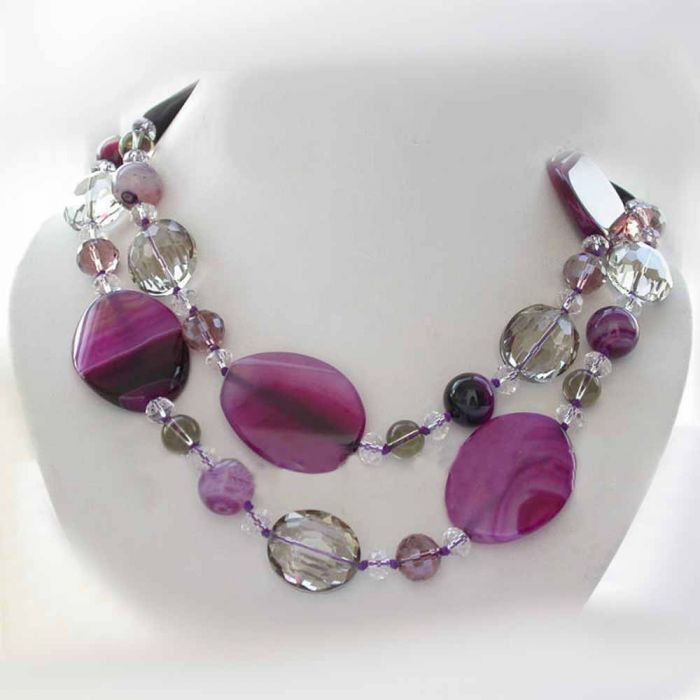 stone of clusters necklace bib made views htm neon pink hot floral alternative p crystal