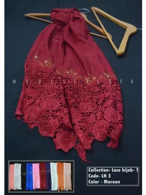 Red Lace Hijab for women