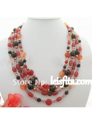 Brown fancy pearl necklace