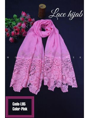 Pink color long Lace Hijab