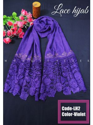 Purple color Lace Hijab for women