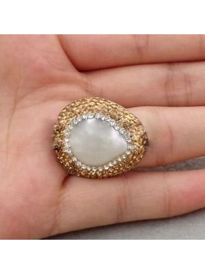 White Coin Pearl CZ Ring