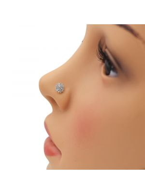 White Start Zirconia Gold Nose Pin