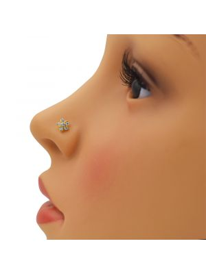 Five Leaf Zirconia Gold Nose Pin
