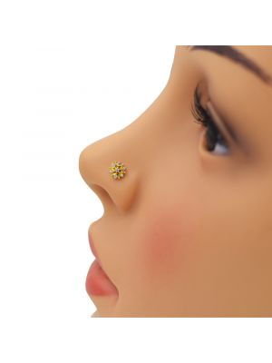 Glowing Star Zirconia Gold Nose Pin
