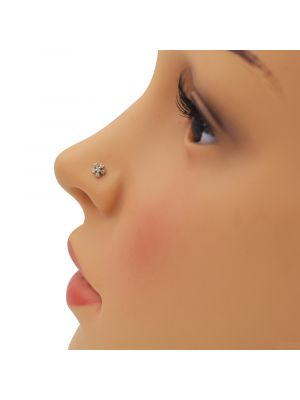 White Star Zirconia Gold Nose Pin