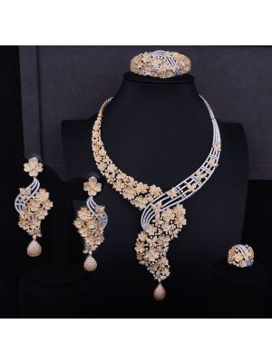 Luxury Flower Boom Bridal Cubic Zirconia Necklace