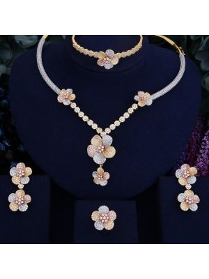 Flower Blossom  Bridal Cubic Zirconia Necklace