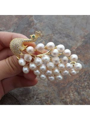 White Pearl Cz Pave Peacock Brooch