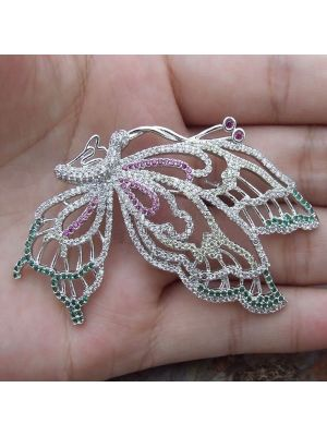 White color CZ Pave Butterfly Brooch