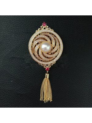 White Pearl Cz Pave Tassel Brooch