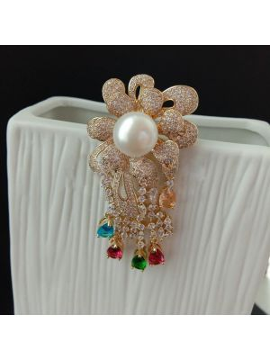 White Pearl Cz Pave Brooch