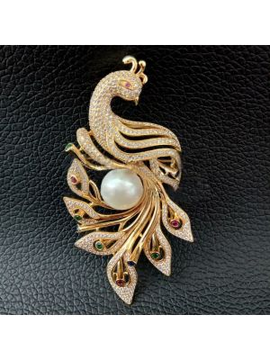 White color Pearl & Cz Pave Phenix Brooch