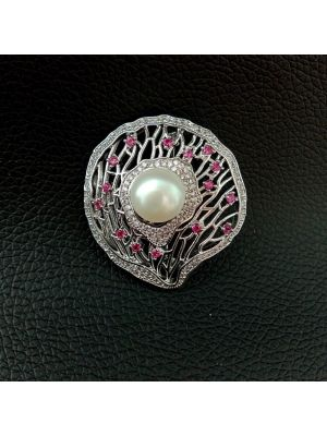 White color Golden Plated Brooch