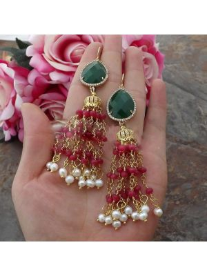 White Pearl Red Green Crystal Earrings
