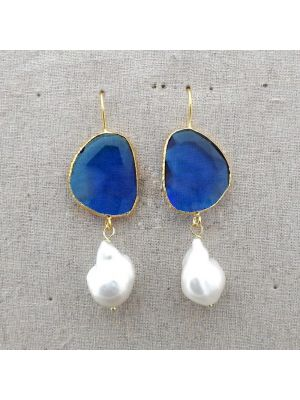 White Keshi Pearl with Blue Crystal Earrings