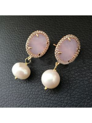 White Pearl Pink Cat Eye Earrings