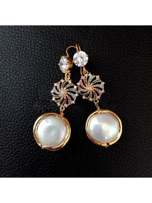 White Coin Pearl & Golden Plated Cz Pave Earring.
