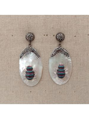 White Oval Mop Cz Pave Earrings