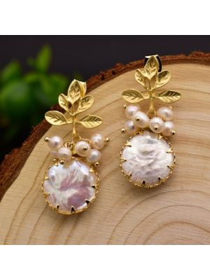 White color Baroque Pearl Drop Earrings