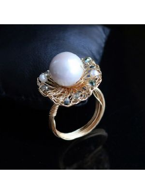 White color Baroque Pearl Ring