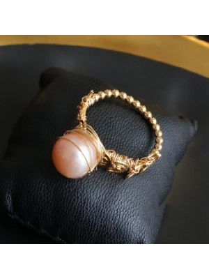 Golden color Baroque Pearl Ring