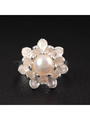 Natural White color Pearl ring