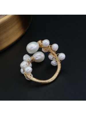 Natural Fresh Water Baroque White Pearl Ring