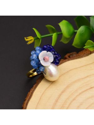 Natural Pearl Blue Stone Shell Flower Ring