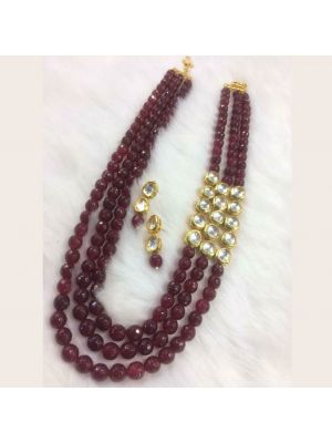 Red color Stone & Jaipuri gold pleated necklace