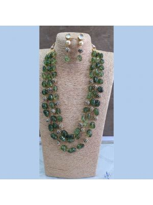 Green color Stone & pearl necklace