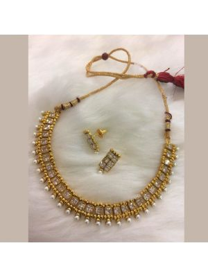 Golden color Stone & pearl necklace