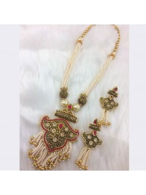 White color Stone & pearl Jaipuri gold pleated necklace